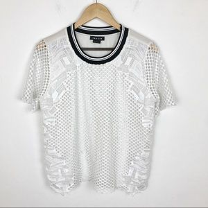 Trouve White Crochet Lace Shirt Blouse Top Med